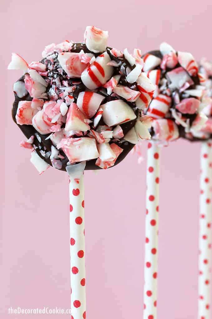 CHOCOLATE PEPPERMINT POPS -- Easy Christmas treat. Candy cane chocolate bark on a stick.