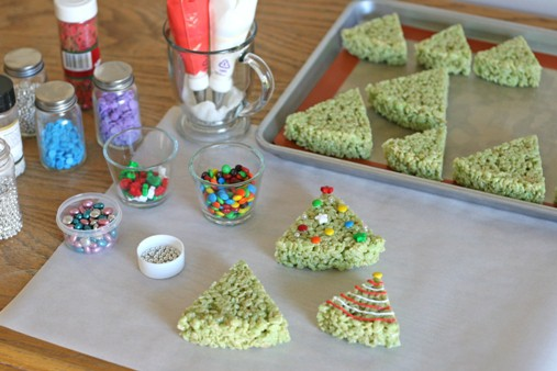 Rice Krispie Treat Christmas trees by Glory of Glorious Treats