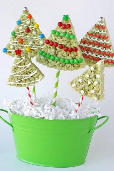 christmas trees rice krispie treats