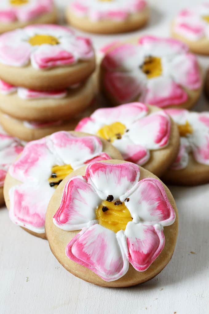 """GET WELL COOKIES: Eglantine Roses mean """"a wound to heal"""" according to the Language of Flowers. Eglantine Rose painted cookies as a get well gift."""