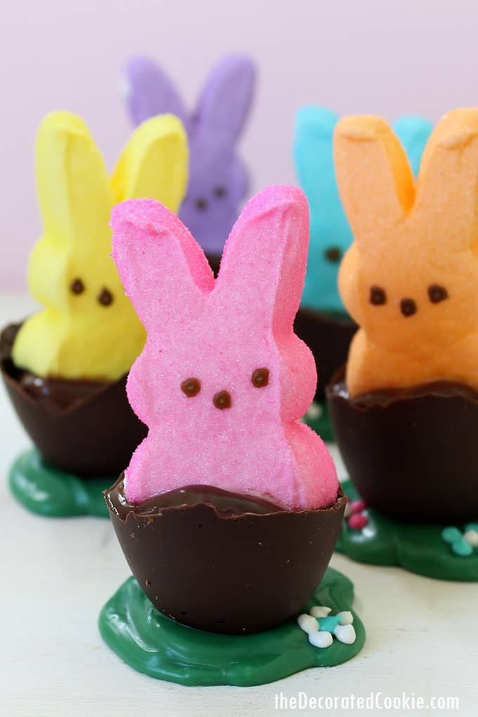 PEEPS bunnies in chocolate eggs with pudding for a fun Easter treat idea.