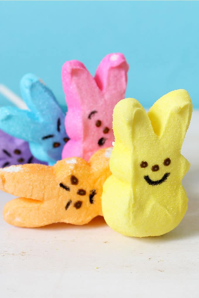 "Use a food coloring pen to make ""angry"" PEEPS KEBOBS for a fun, easy , silly Easter treat. Easter treat kids can make themselves."