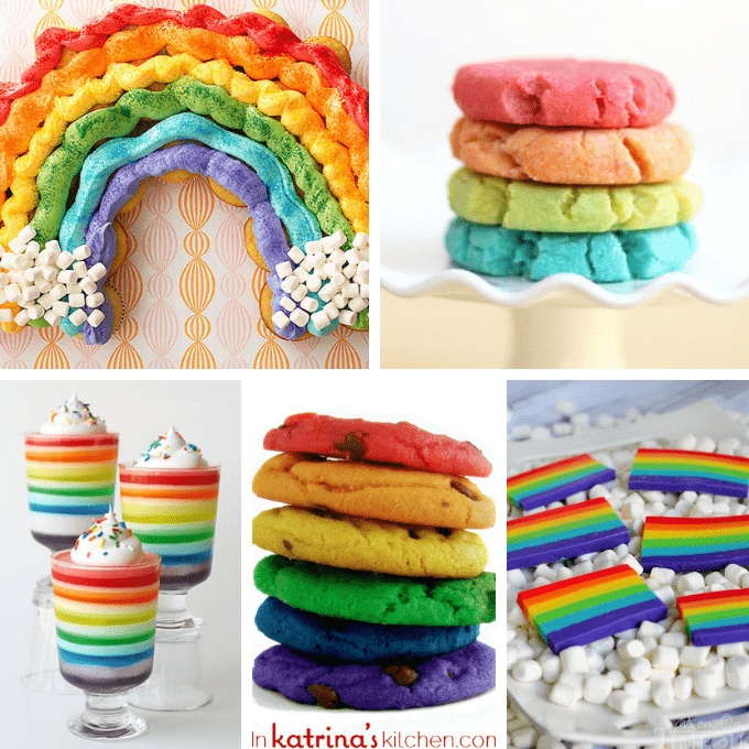 40 RAINBOW FOOD IDEAS: A roundup of rainbow treats and sweets for your rainbow party, unicorn party or St. Patrick's Day. #rainbowfood #rainbowtreats #rainbowparty