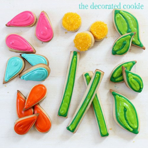 flower puzzle cookies for a birthday gift idea