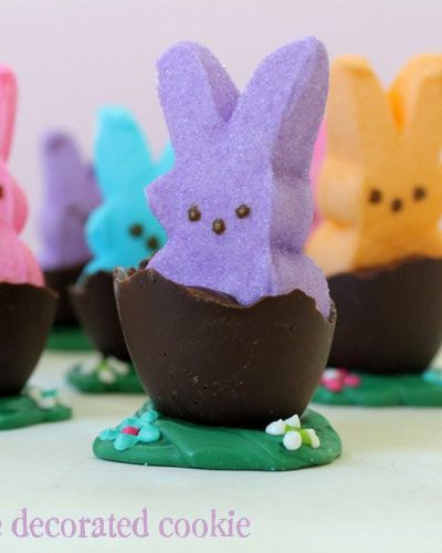 Peeps in chocolate eggs for Easter