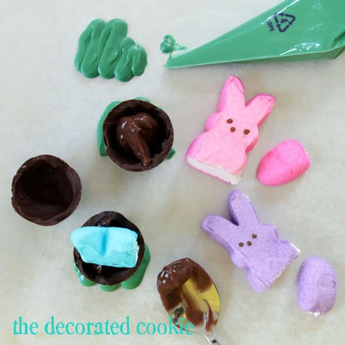 PEEPs bunnies in chocolate eggs for Easter