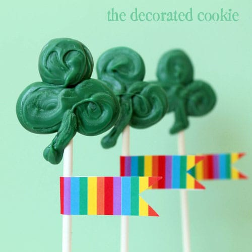 st. patrick's day pops - candy shamrock pops