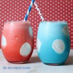 red, white and blue polka dot milkshakes