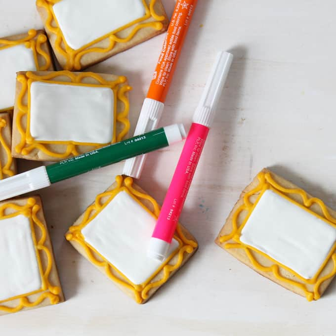 Decorate art canvas cookies and package with food coloring pens for art party favors. Kids design their own cookies.