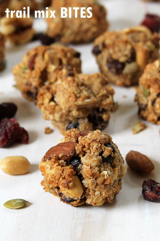 HEALTHY SNACK IDEA: Trail mix oat bites with wheat germ, trail mix, and rolled oats. Protein-filled snack to give you energy.