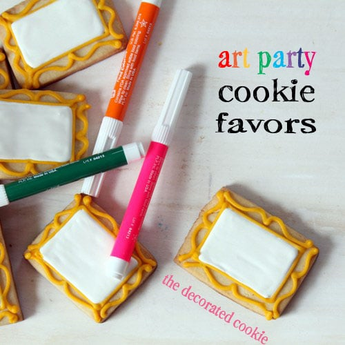 A Kid's Art Party Favors: Canvas Cookies With Edible Writers