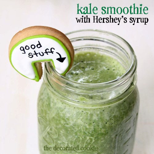 kale smoothies with HERSHEY'S chocolate syrup