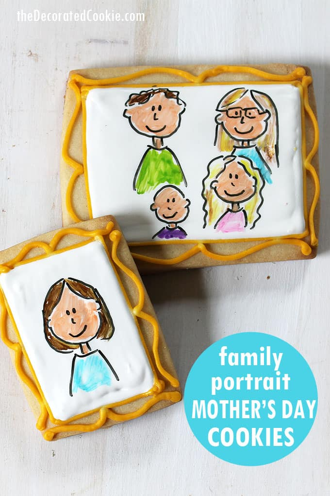 How to make family portrait cookies for a Mother's Day gift idea. Cookie decorating tutorial. Decorate cookies with royal icing and food coloring pens.