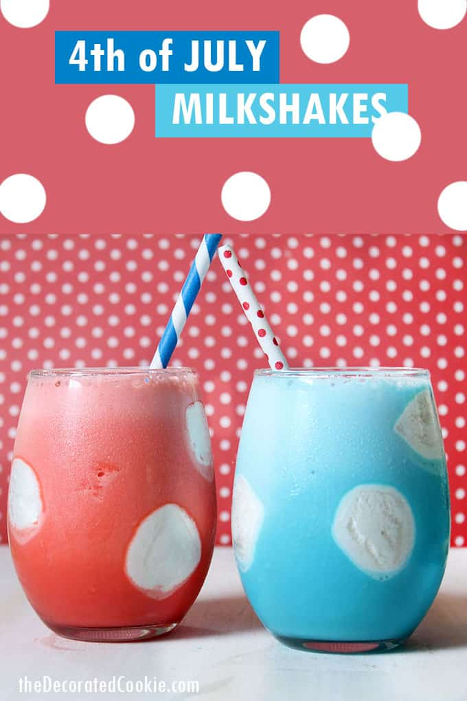 red and blue milkshakes with marshmallow polka dots