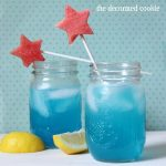 blue lemonade cocktail (booze optional) with watermelon star stirrer for the 4th of July
