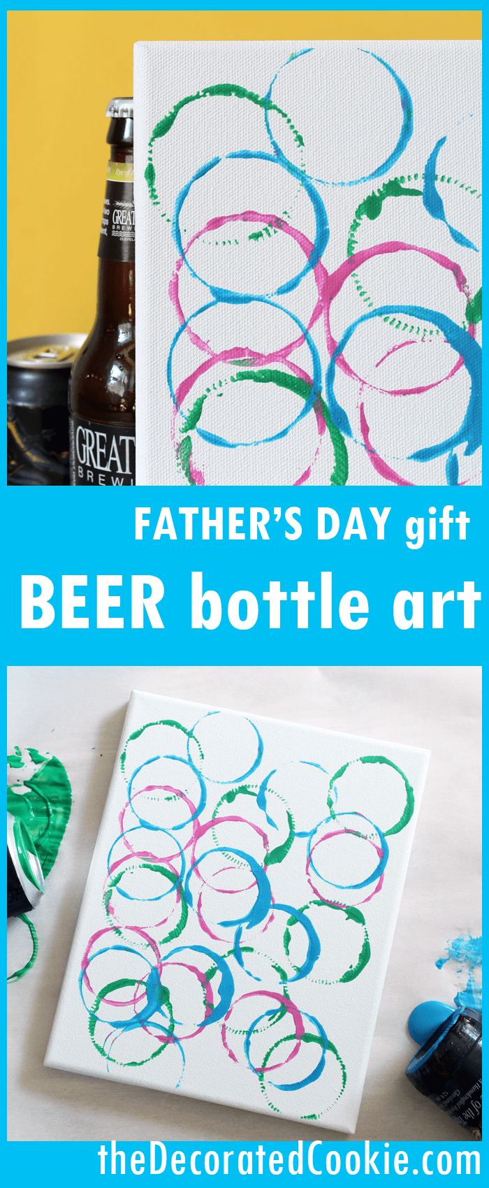 handmade Father's Day gift from kids -- beer bottle art