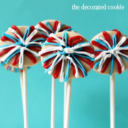 4th of July cookie pops by the decorated cookie
