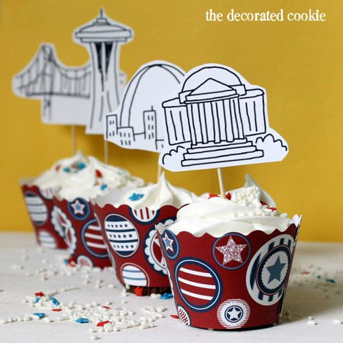 American landmarks 4th of July cupcakes with free printable