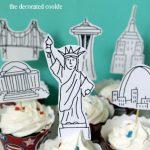 American landmark cupcake toppers