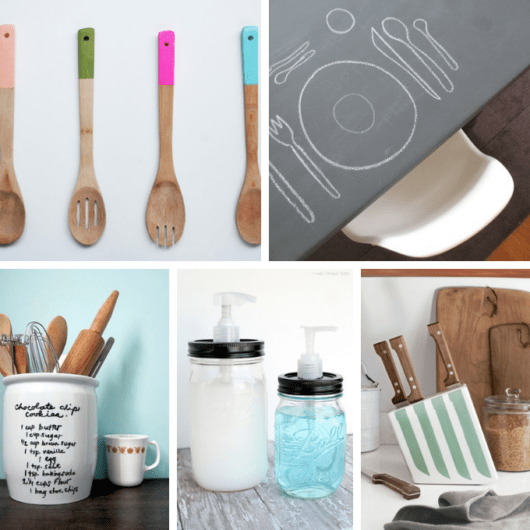 36 DIY KITCHEN CRAFTS --A roundup of 36 clever ideas from around the web for do-it-yourself kitchen crafts, including servingware, kitchenware, wall art, party decorations and more