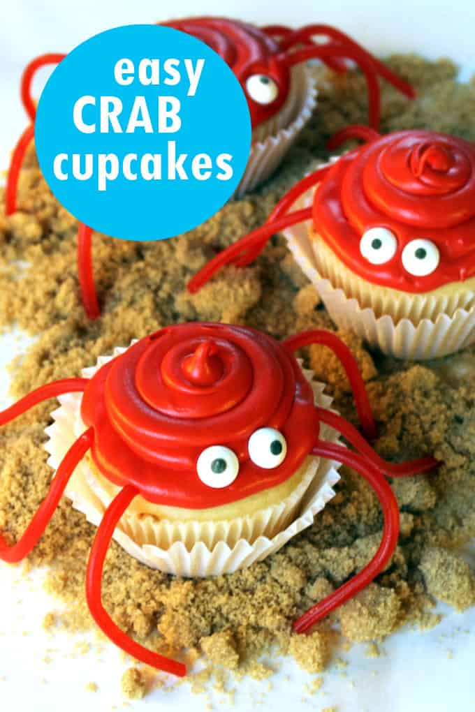 easy crab cupcakes, a fun summer dessert idea for summer parties, beach parties, BBQs. #summer #crabcupcakes