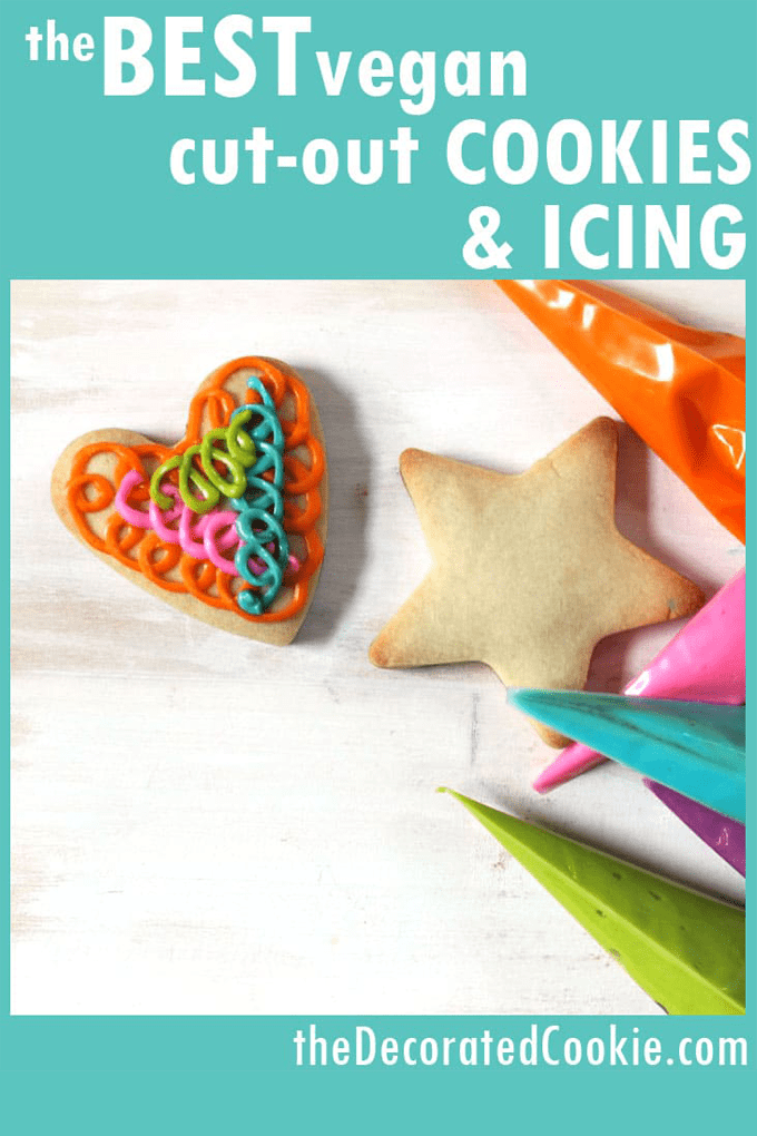 VEGAN COOKIES: Recipes for the BEST Vegan cut-out sugar cookies and vegan sugar cookie icing for cookie decorating. (And tips on cookie decorating with kids who have food allergies.) #VeganCookies #cookieDecorating