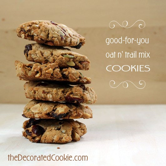 (mostly) healthy, oat and trail mix cookies