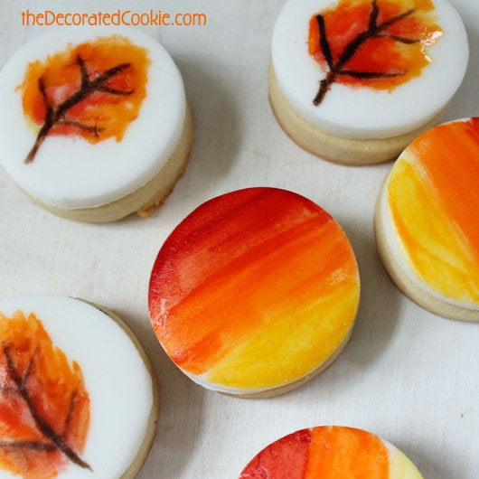 painted fall leaves cookies