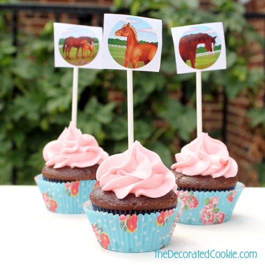 horse sticker cupcake toppers and a horse birthday party