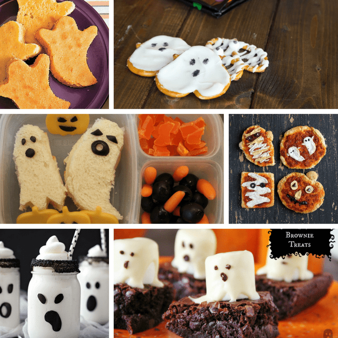 roundup of 36 ghost themed treats and snacks for Halloween