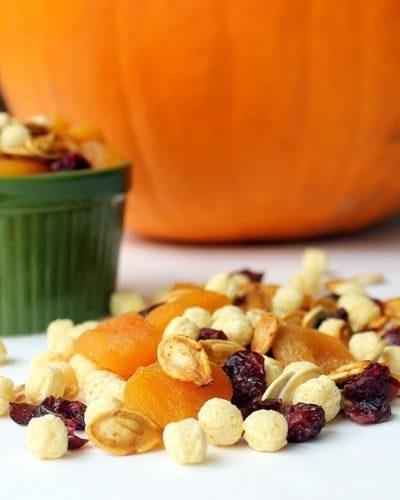 roasting pumpkin seeds and Kix-pumpkin seed trail mix
