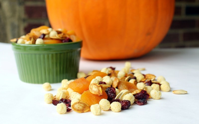 roasting pumpkin seeds and Kix-pumpkin seed trail mix