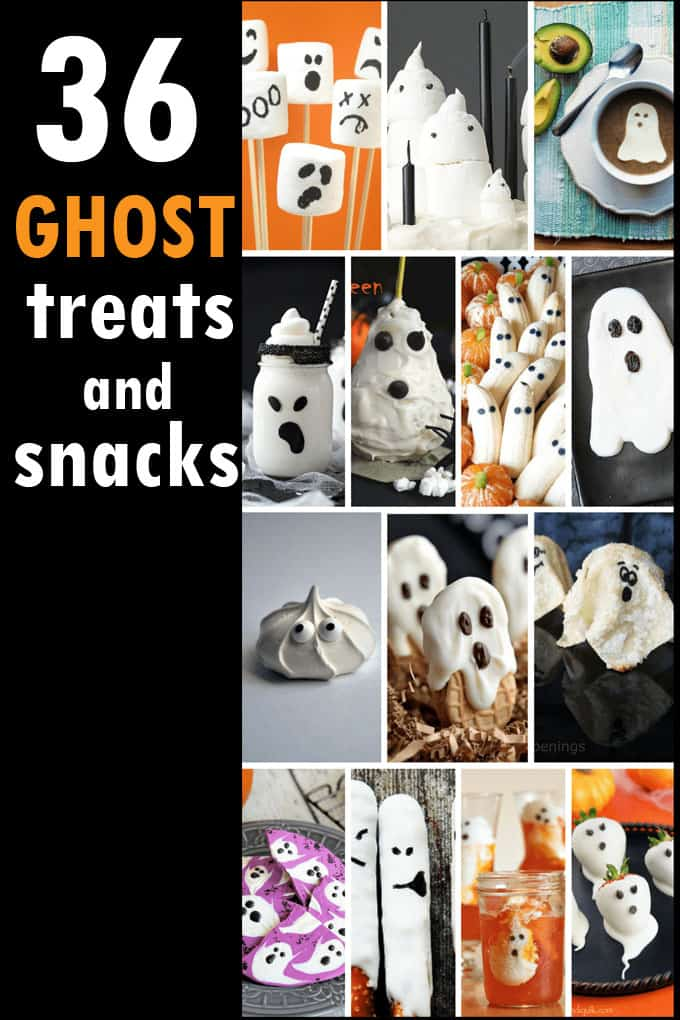 Ghost marshmallow pops and 35 other ghostly treats, snacks and drinks for Halloween. Fun food for your Halloween party. Ghost treats and snacks.