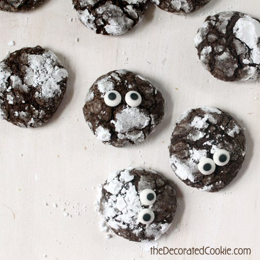 cocoa crackle cookies monsters for Halloween