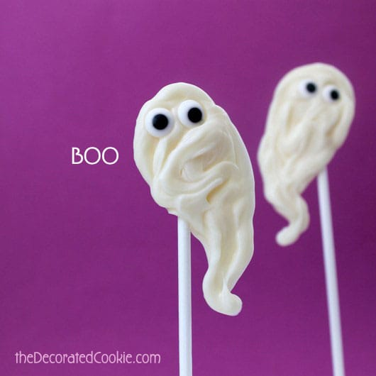 chocolate ghost pops for Halloween
