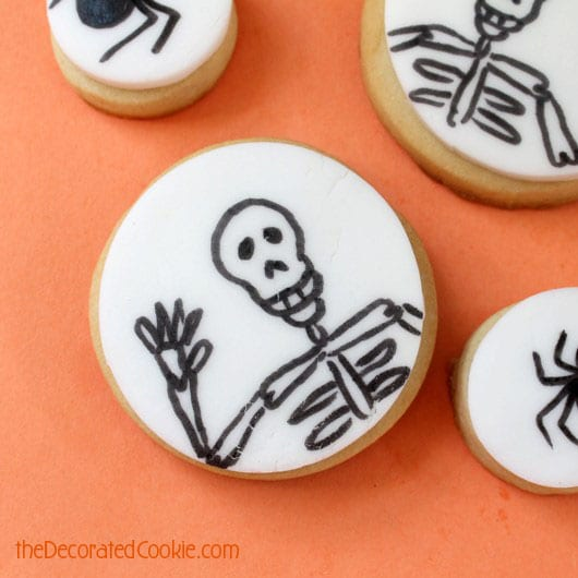 simple, decorated Halloween cookies,