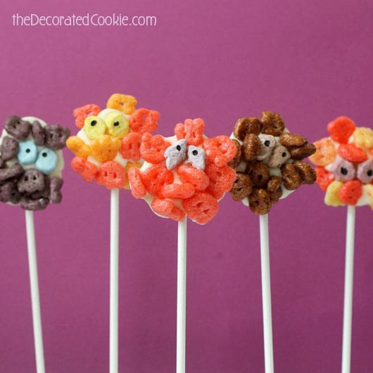 chocolate cereal monster pops for Halloween