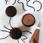 Easy! Make simple spider cupcakes for Halloween. Cupcake decorating idea for Halloween. Creepy spider fun food treat for Halloween