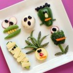 vegetable monsters for Halloween, healthy Halloween idea