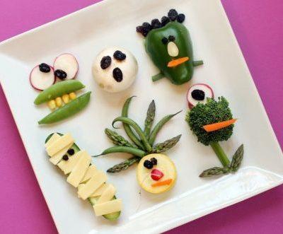 vegetable monsters for Halloween, healthy Halloween idea