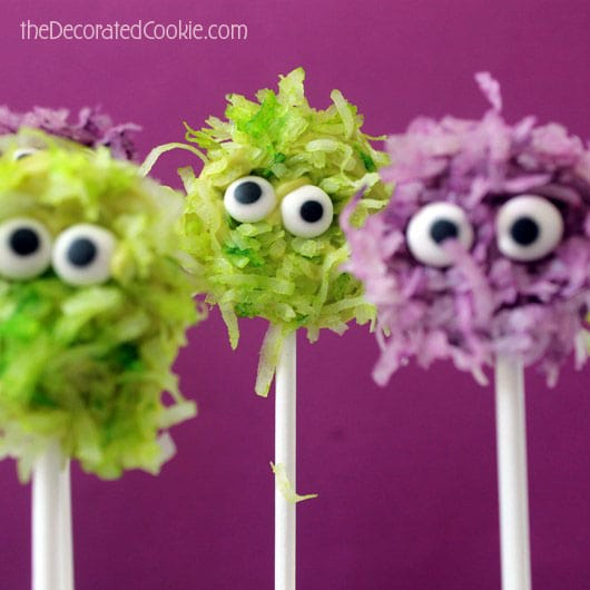 fuzzy chocolate monster pops for Halloween