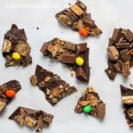 leftover Halloween candy chocolate bark
