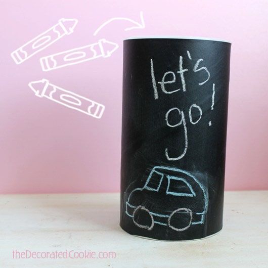 DIY chalkboard canisters from oatmeal containers