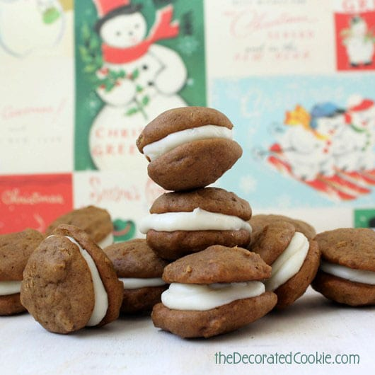 mini gingerbread whoopie piesThe Decorated Cookie