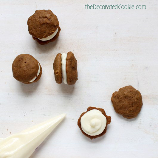 mini gingerbread whoopie pies with cream cheese filling