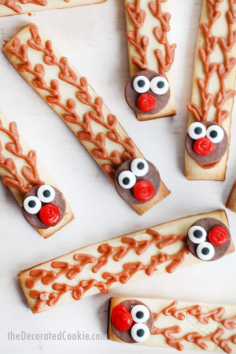 Rudolph decorated cookie sticks for Christmas