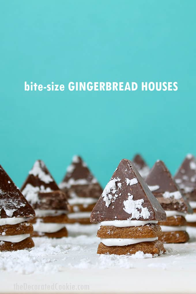 BITE-SIZE GINGERBREAD HOUSES -- tiny, rectangle gingerbread cookies layered with frosting and topped with Toblerone chocolate. Cute Christmas treat idea!