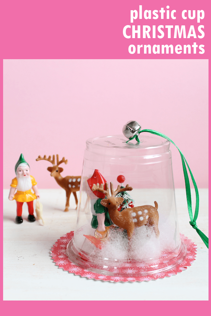 DIORAMA CHRISTMAS ORNAMENTS from plastic cups.