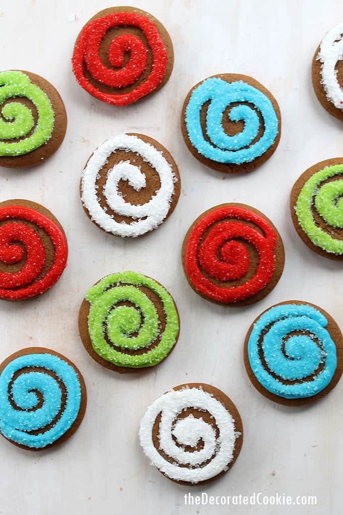Sparkly, bright, colorful gingerbread swirl cookies are a fun, modern twist on traditional gingerbread Christmas cookies.  #gingerbreadcookies #christmascookies