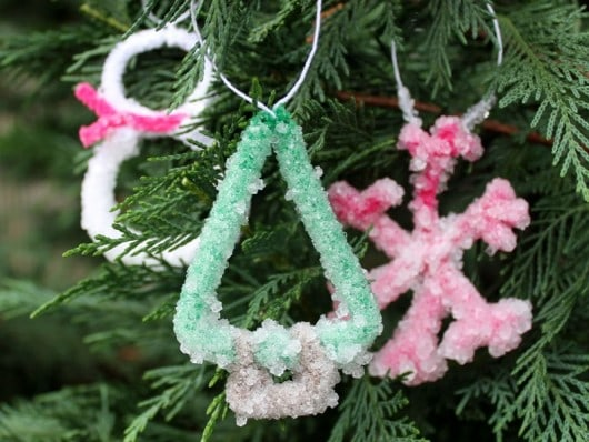 crystal-coated pipe cleaner ornaments